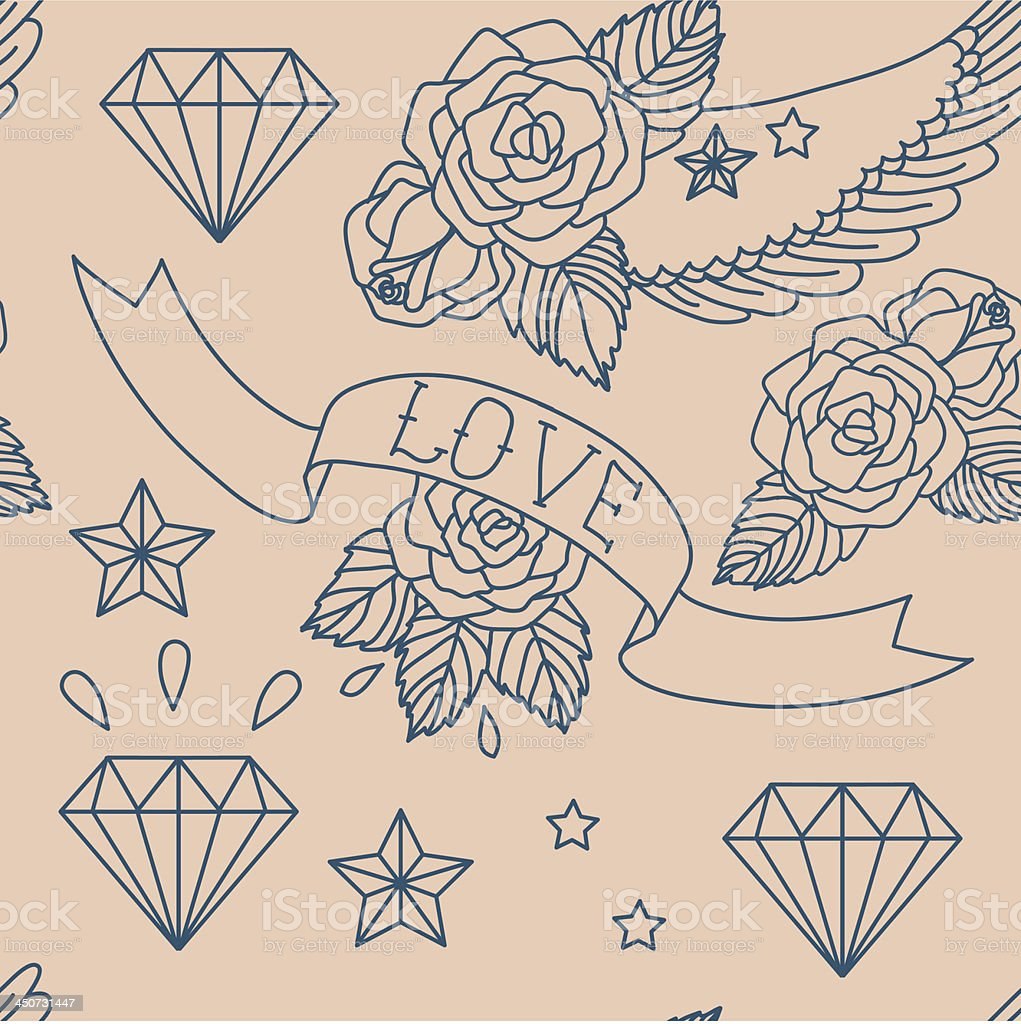Old school tattoo. Vector seamless pattern. royalty-free stock vector art