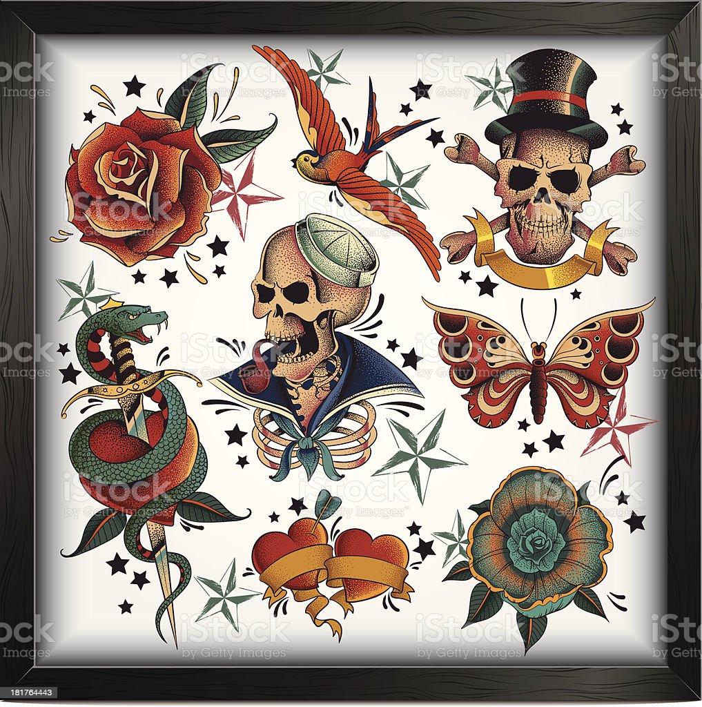 Old school tattoos royalty-free stock vector art