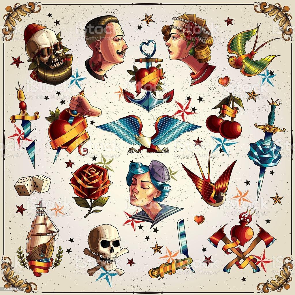 Old school tattoos vector art illustration