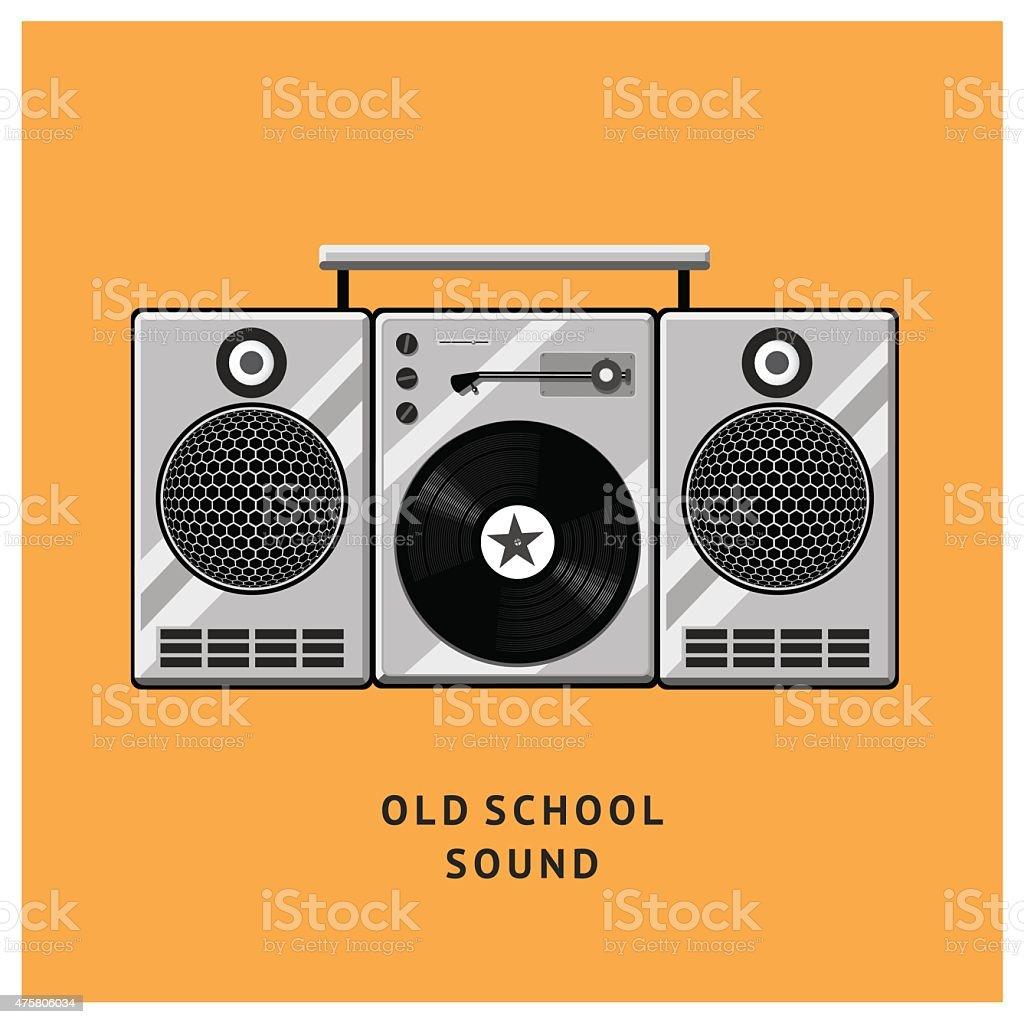 Old school vinyl player vector art illustration