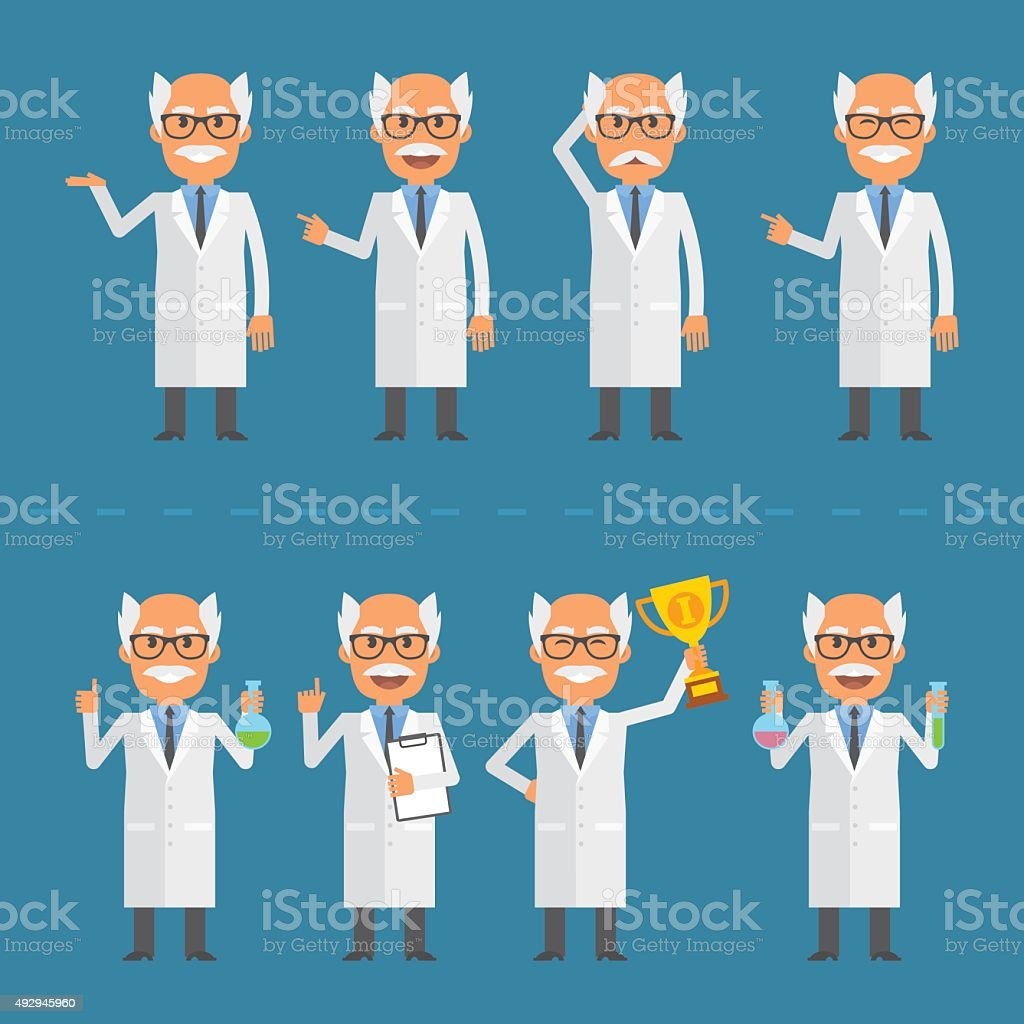 Old scientist in various poses vector art illustration