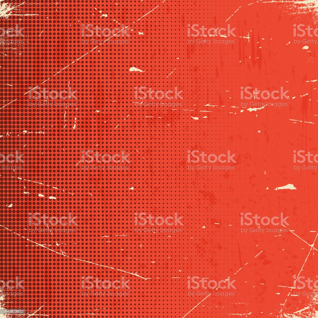Old scratched card with halftone gradient vector art illustration