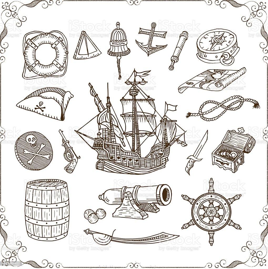 Old Sea Doodles Set vector art illustration