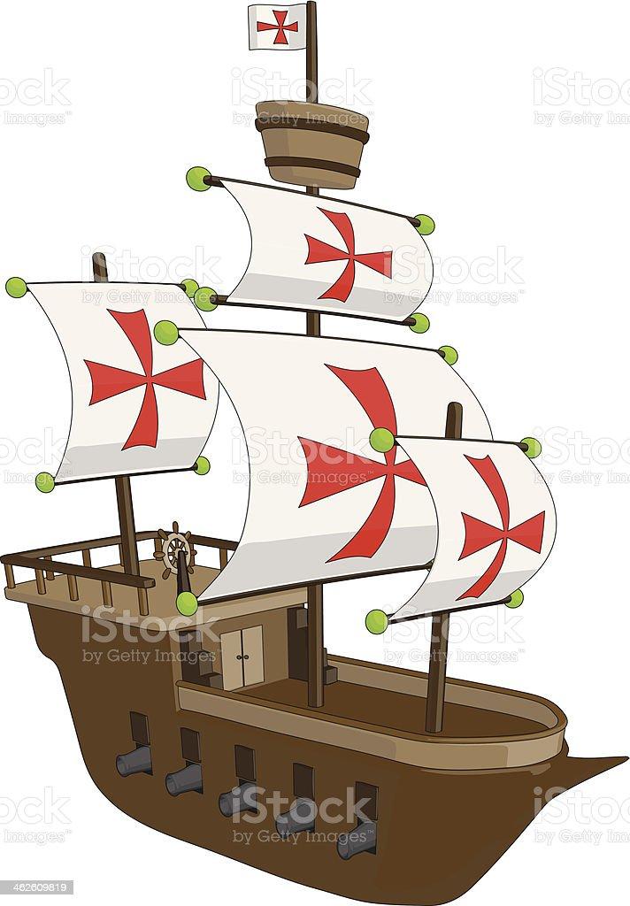 Ancien navire-Frégate/Galleon stock vecteur libres de droits libre de droits