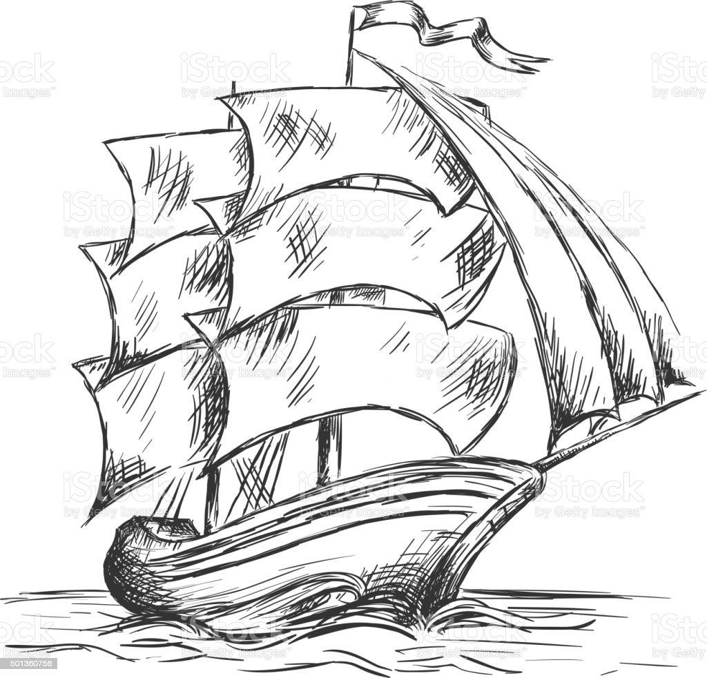 Old ship under full sails in ocean water vector art illustration
