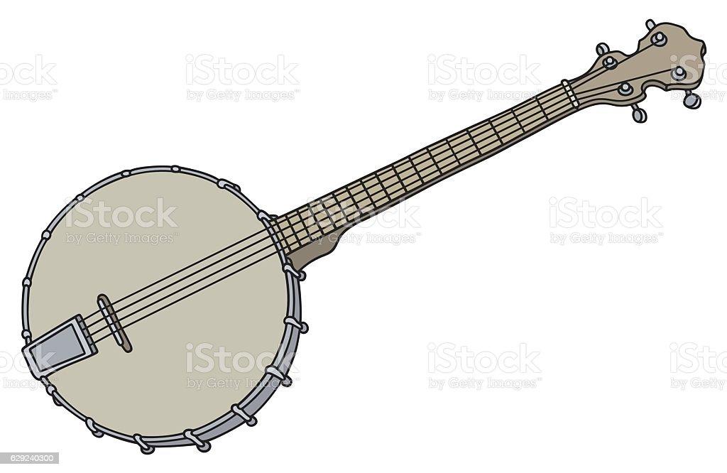 Old simple banjo vector art illustration