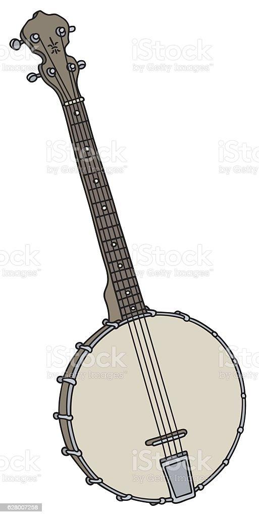 Old small banjo vector art illustration