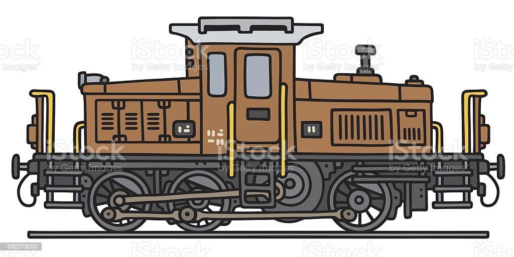 Old small diesel locomotive vector art illustration