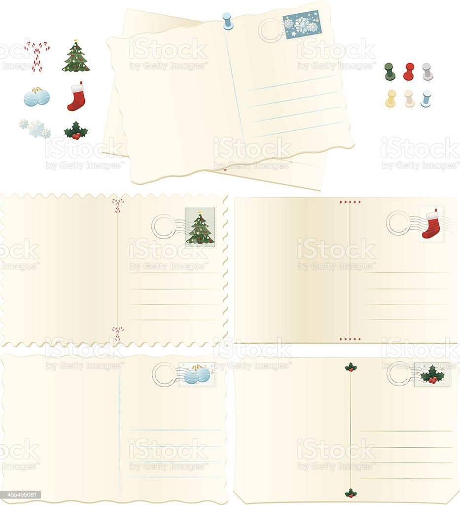 Old, Stained Postcards Set: Christmas Holiday vector art illustration