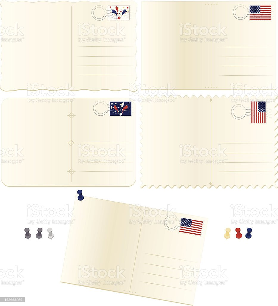 Old, Stained Postcards Set: Patriotic or Fourth of July Theme vector art illustration