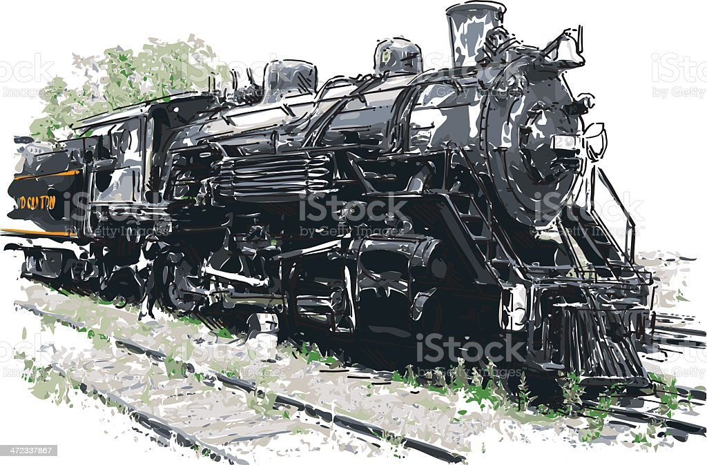 old steam train royalty-free stock vector art