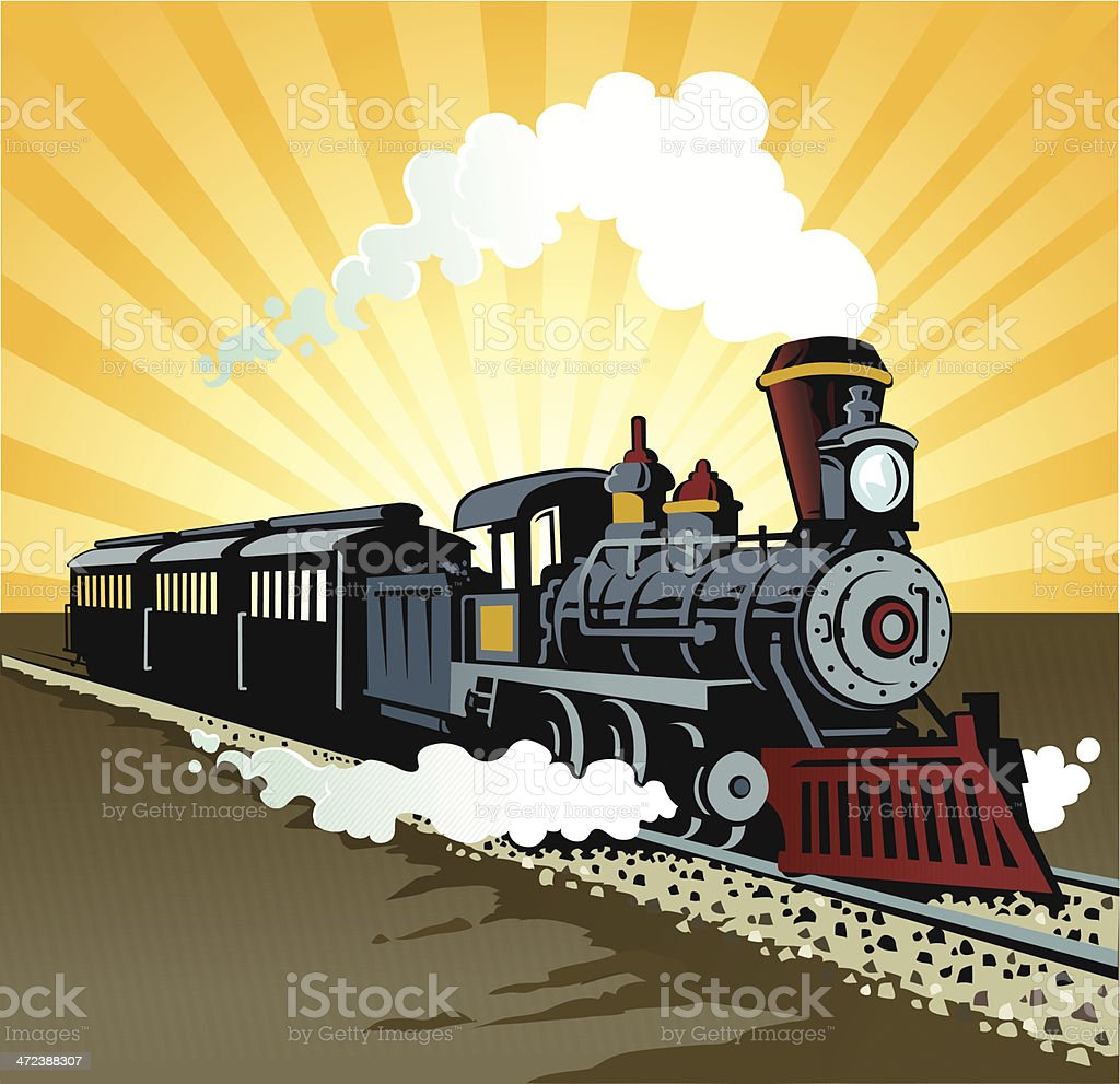 Old Steam Train vector art illustration