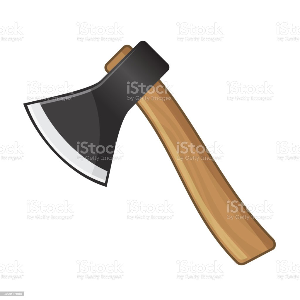 Old Steel Axe on White Background. Vector royalty-free stock vector art