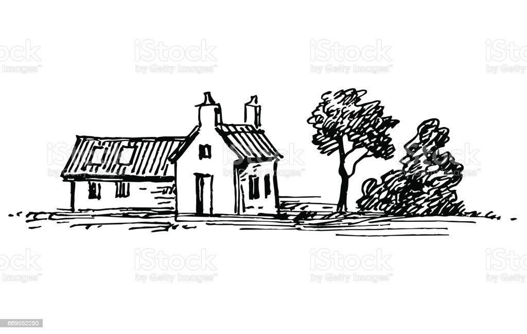 Old stone house. vector art illustration