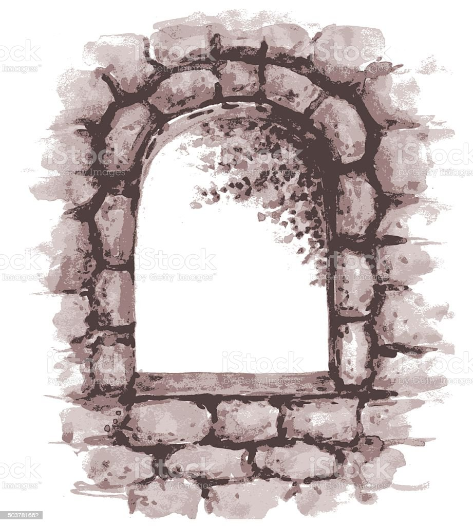 Old stone wall  with window. vector art illustration