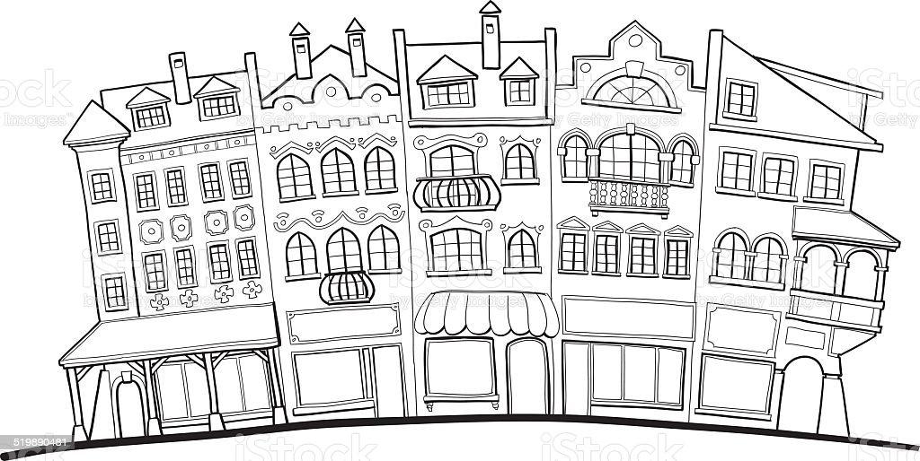 Old street vector art illustration