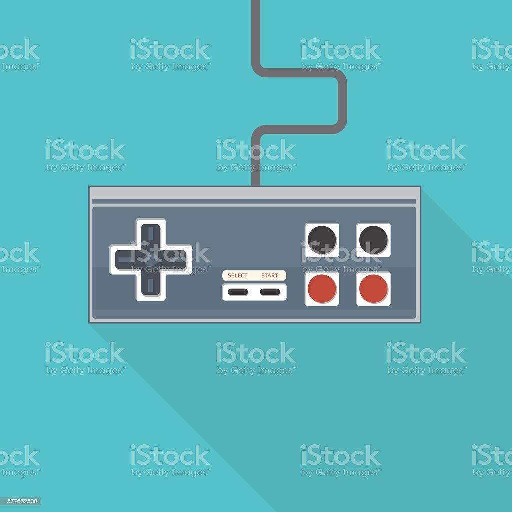 Old style gamepad vector art illustration