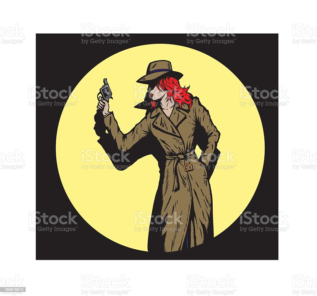 Old style girl detective, such as from the fifties. royalty-free stock vector art