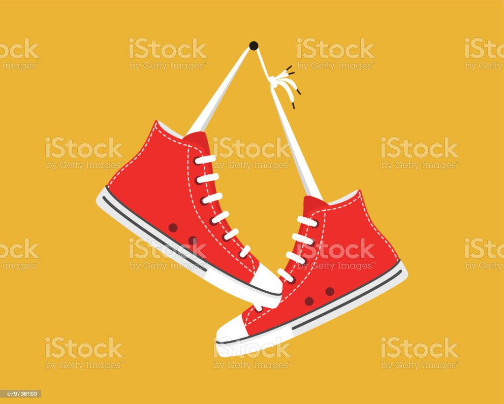 old style sport sneakers shoes hanging vector art illustration