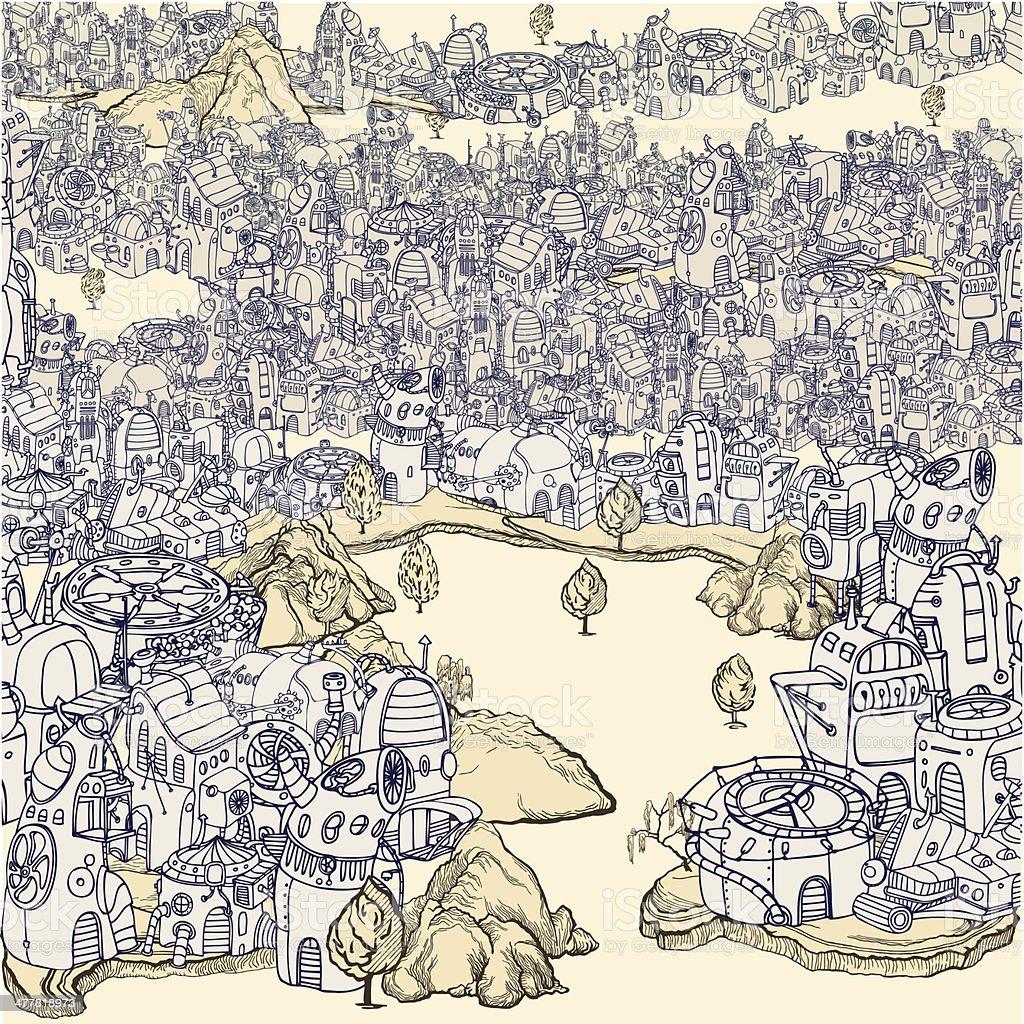 Old Tech City. royalty-free stock vector art