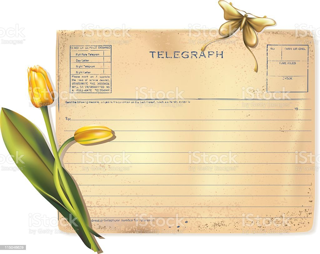 Old telegram with Tulips royalty-free stock vector art