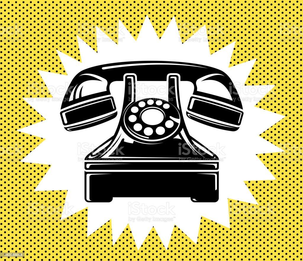 old telephone vector art illustration