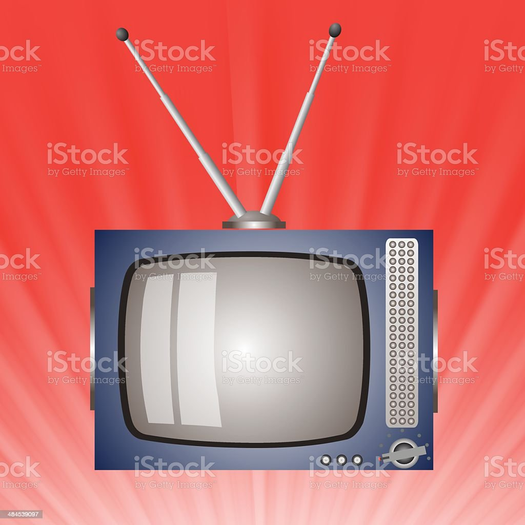 old television vector art illustration