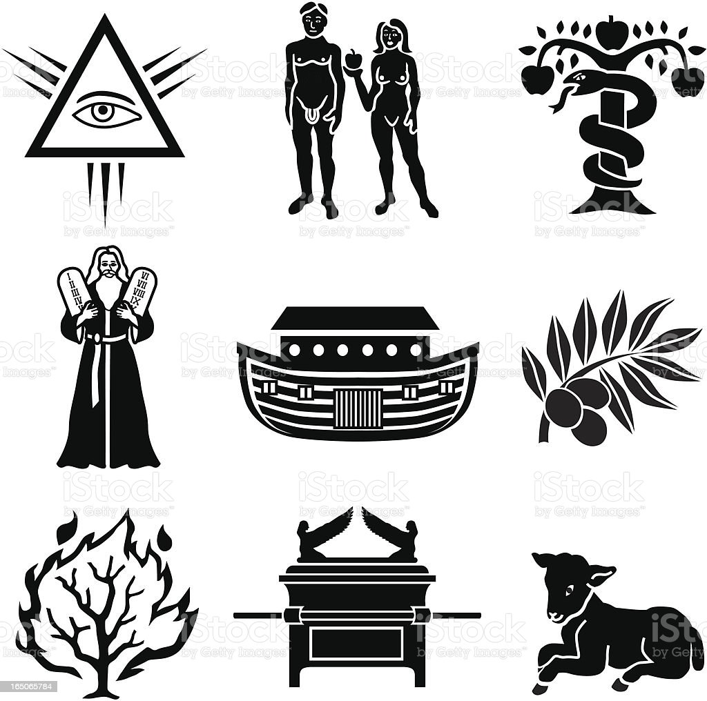 Old testament icons vector art illustration
