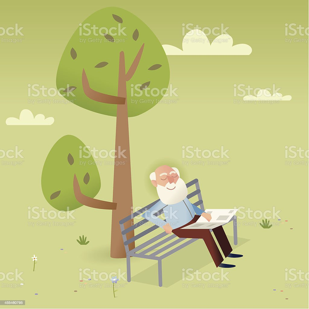 Old timer taking a nap royalty-free stock vector art