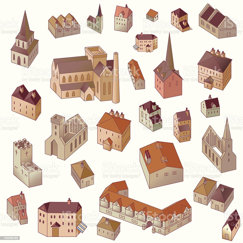 Old Town Buildings vector art illustration