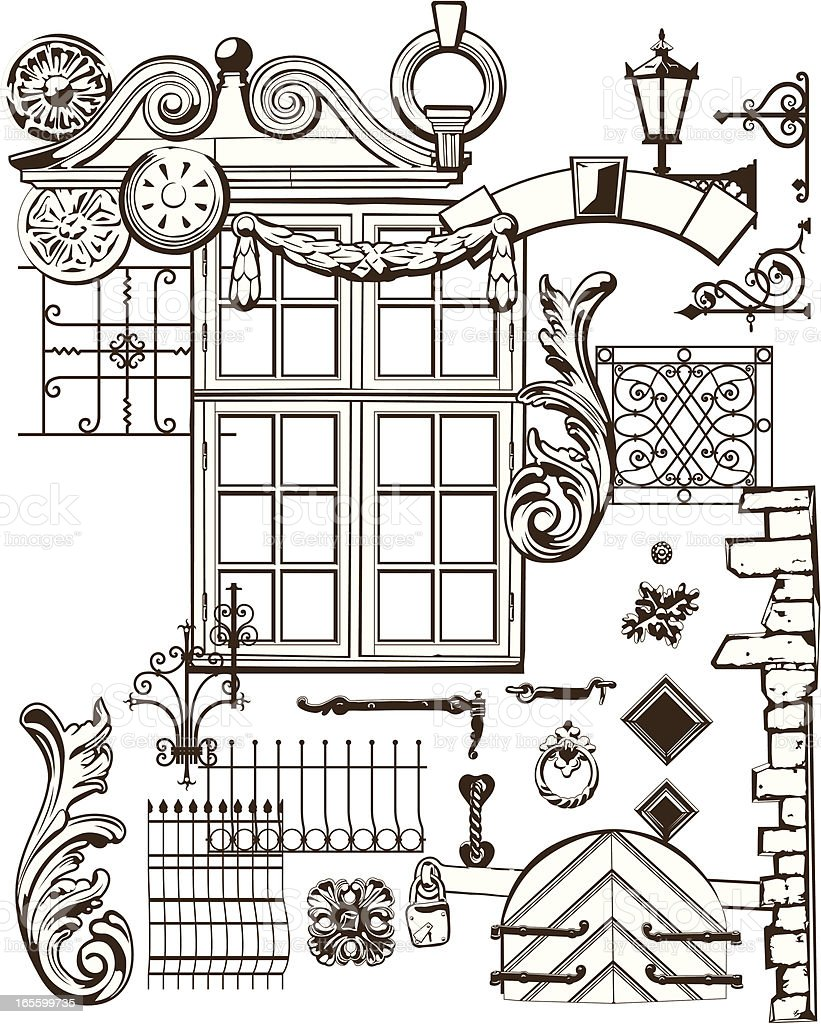 Old Town Elements royalty-free stock vector art