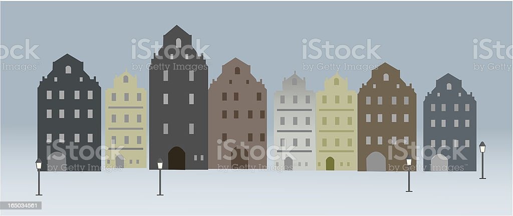 Old Town Houses royalty-free stock vector art