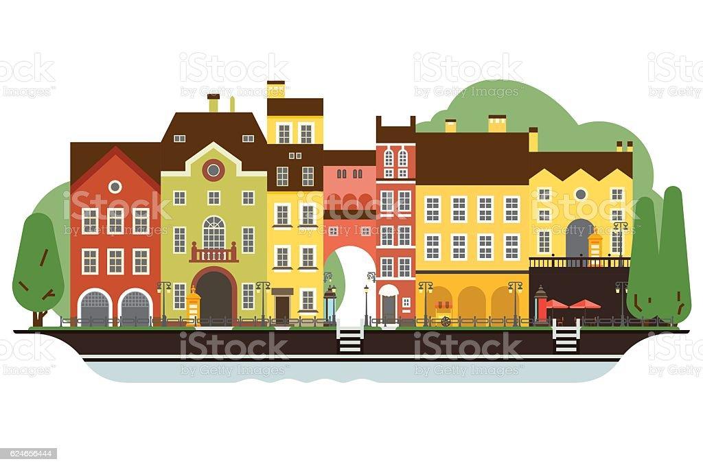 Old Town Houses vector art illustration