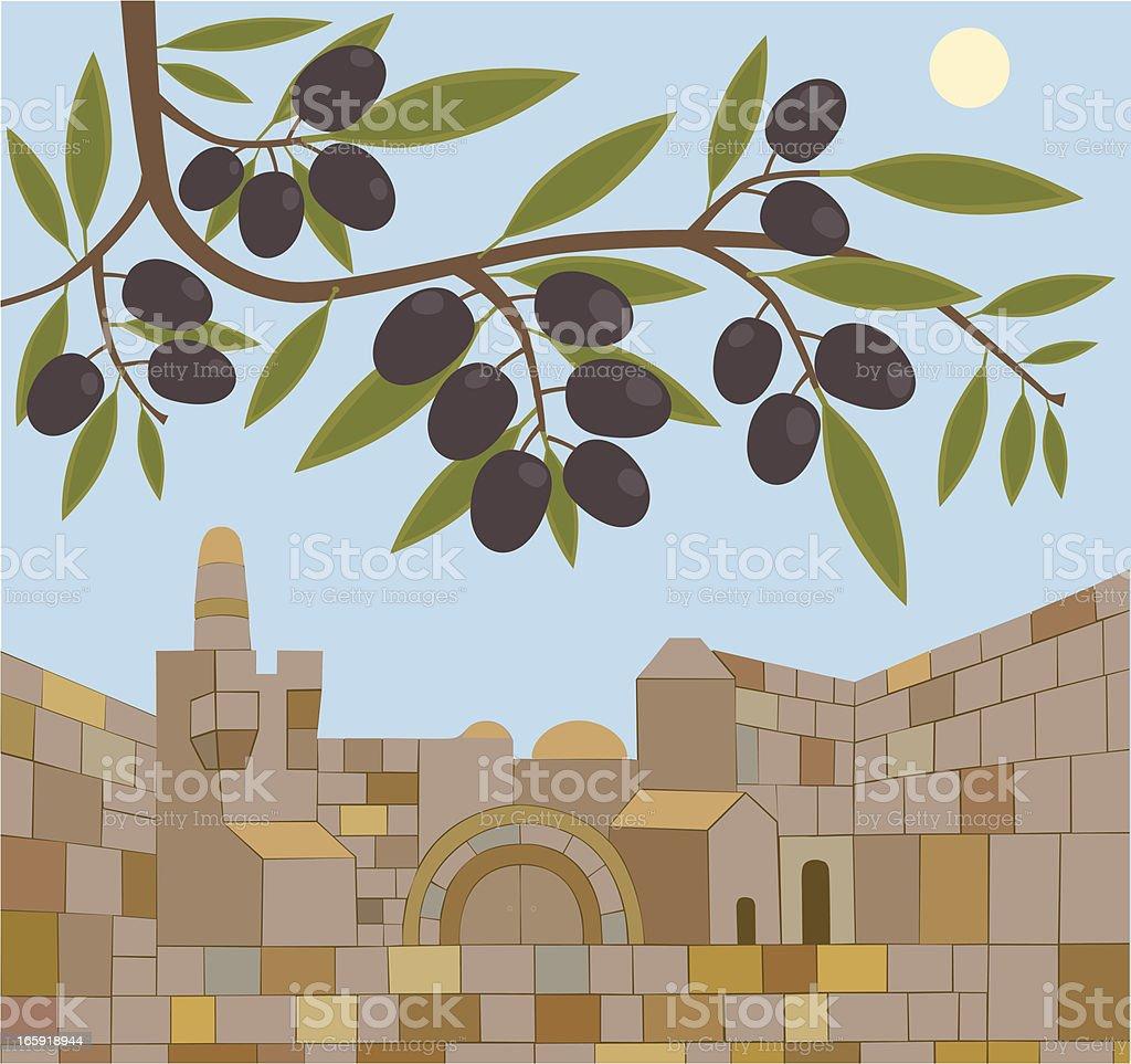 Old Town of Jerusalem And Olive Branch vector art illustration