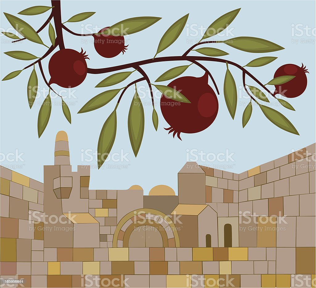 Old Town of Jerusalem And Pomegranate Branch royalty-free stock vector art