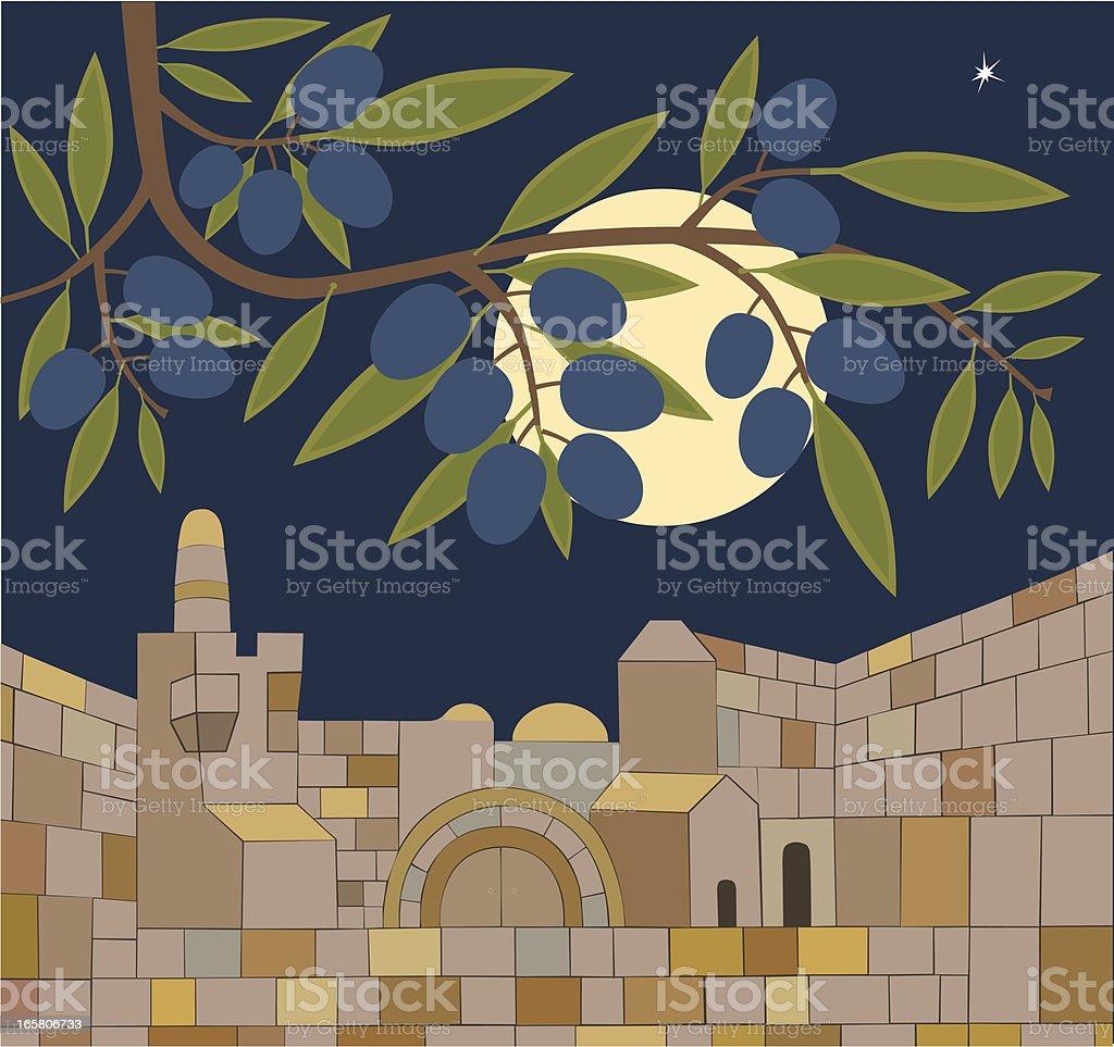 Old Town of Jerusalem At Sabbath Night royalty-free stock vector art