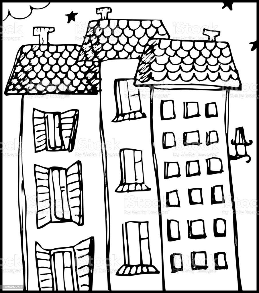Old Town vector art illustration