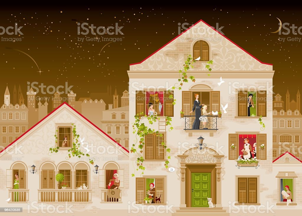 Old Town with Vines Covering Houses vector art illustration