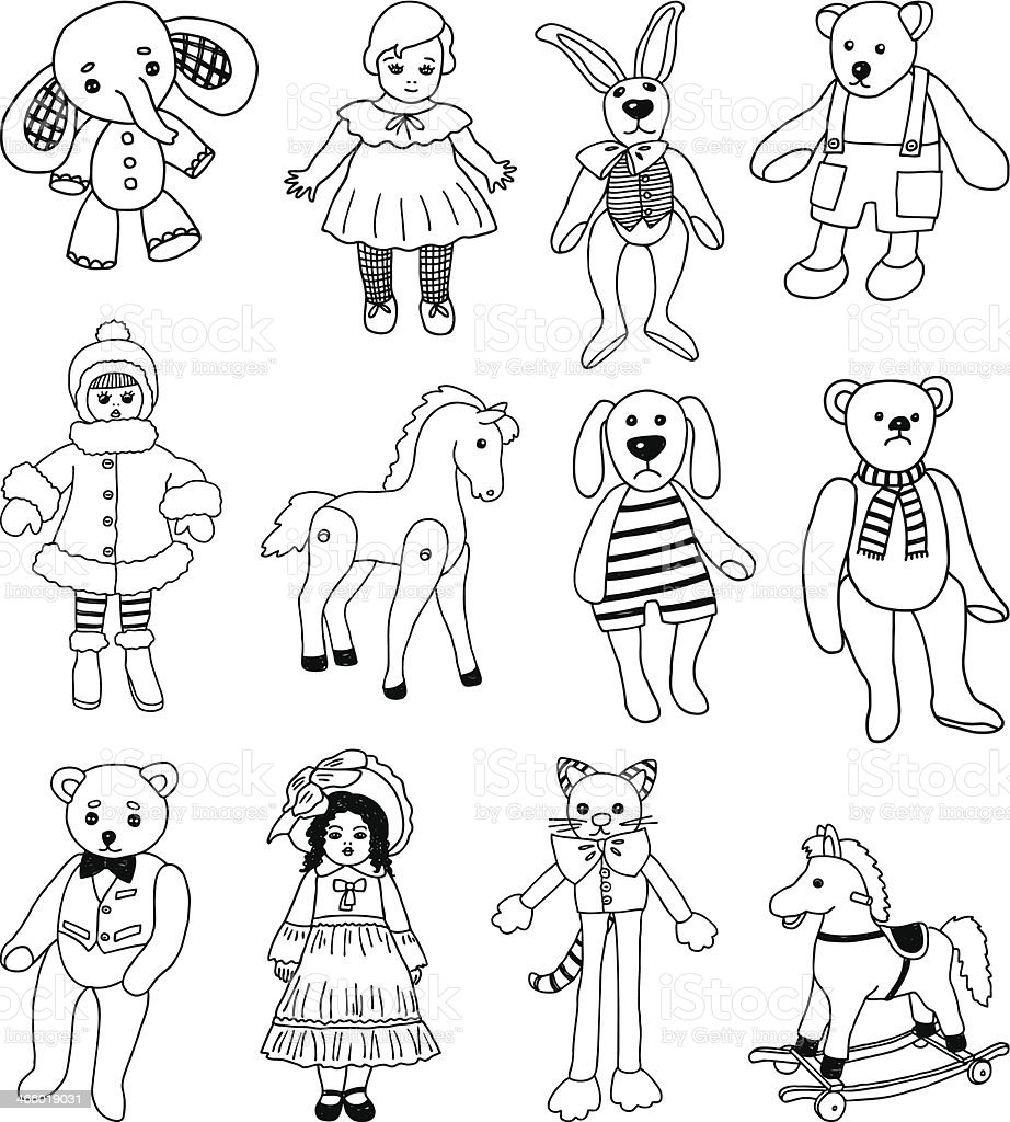 old toys vector art illustration