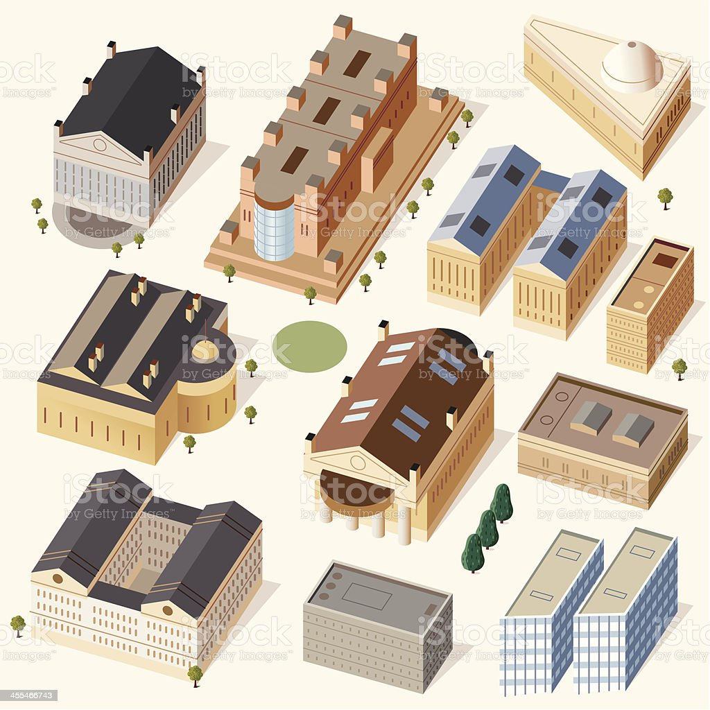 Old + Traditional Buildings royalty-free stock vector art