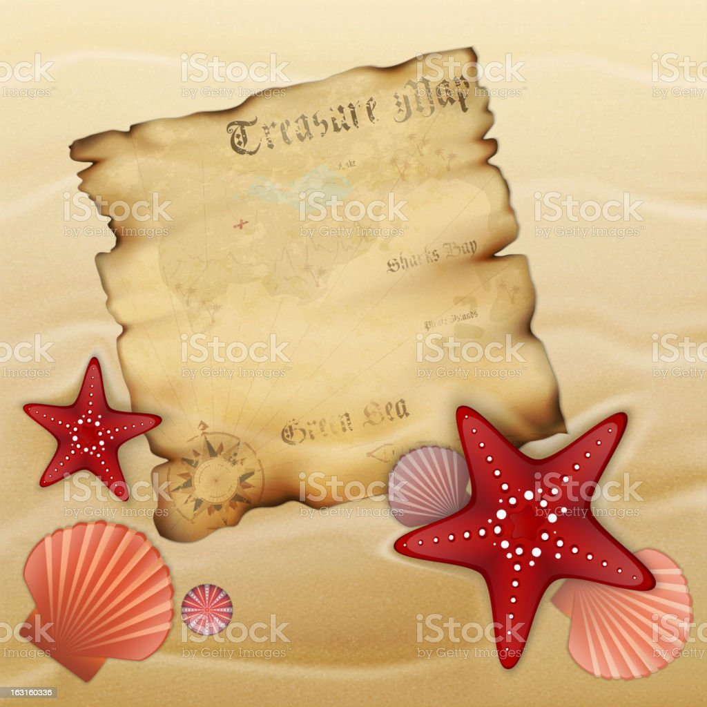 Old treasure map on sand royalty-free stock vector art