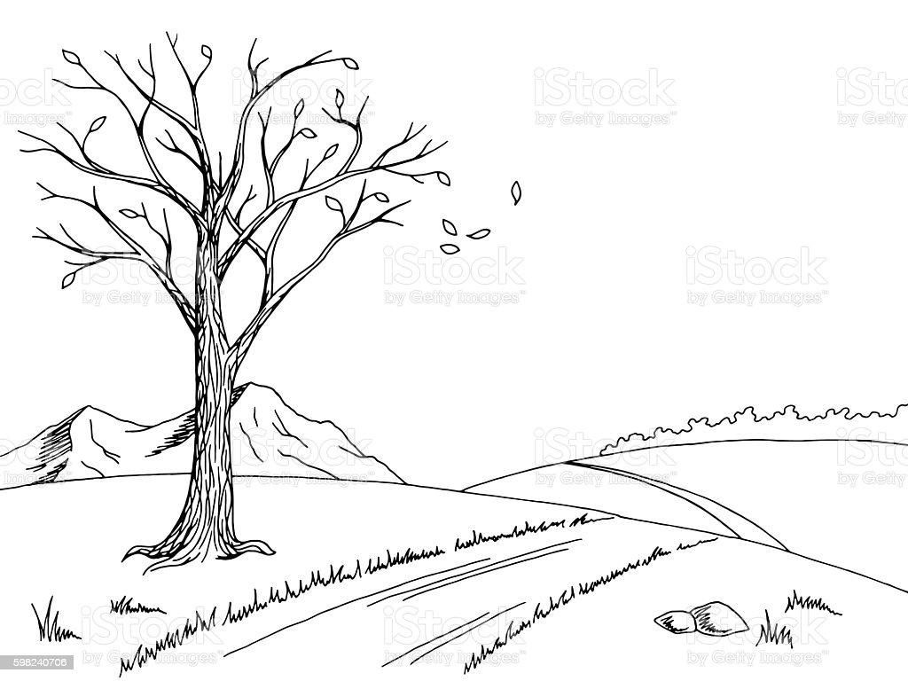 Old tree autumn graphic black white landscape sketch illustration vector vector art illustration