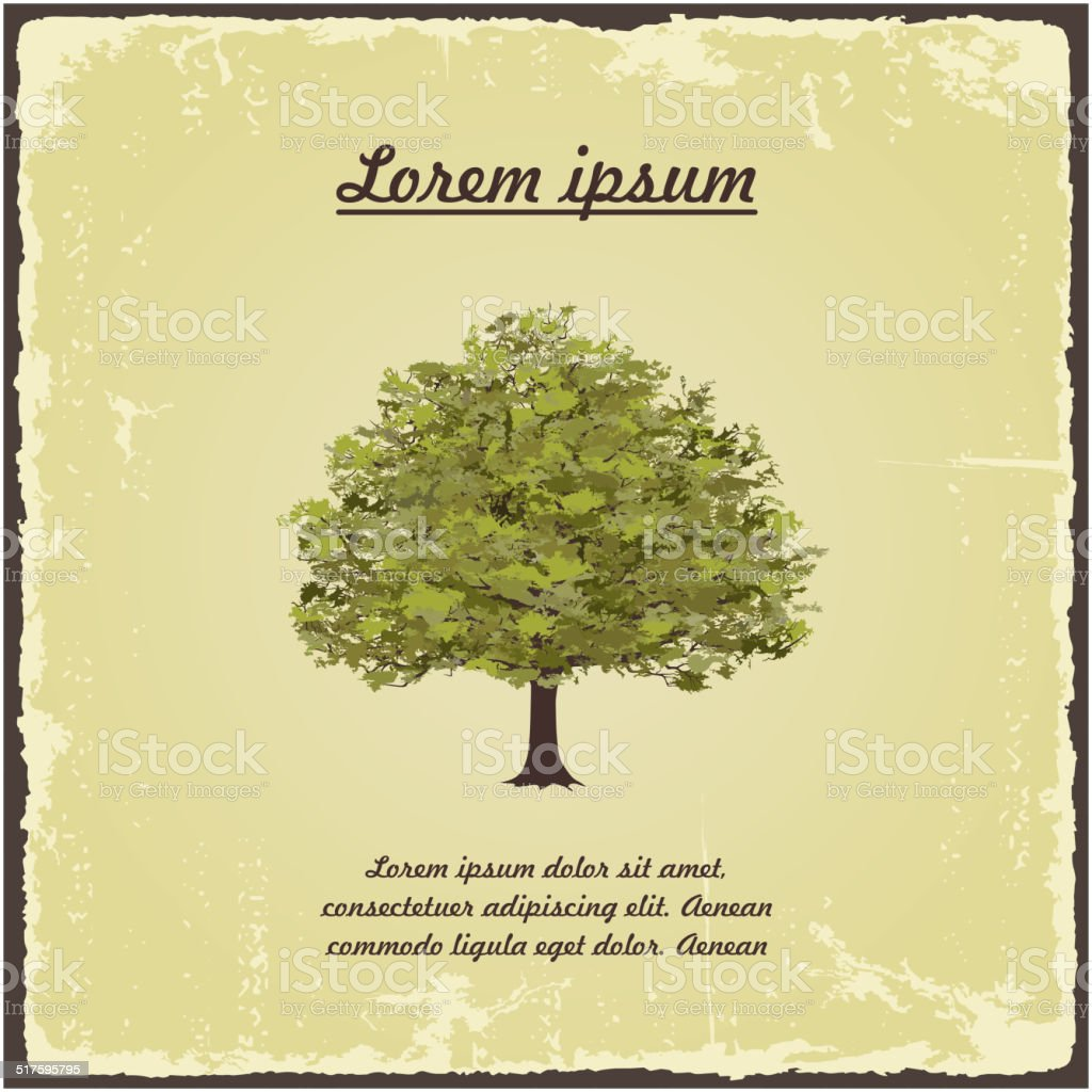 Old tree on vintage paper. vector art illustration