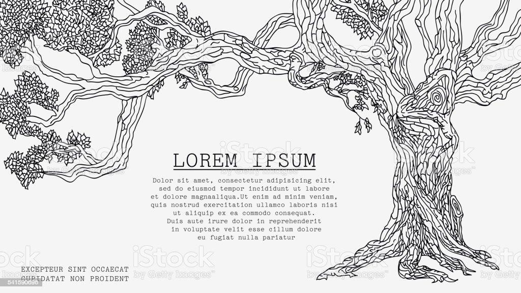 Old Tree Sketch vector art illustration