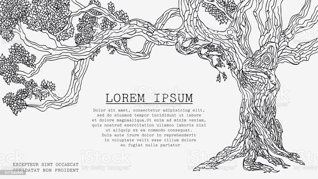 Old Tree Sketch vector art illustration