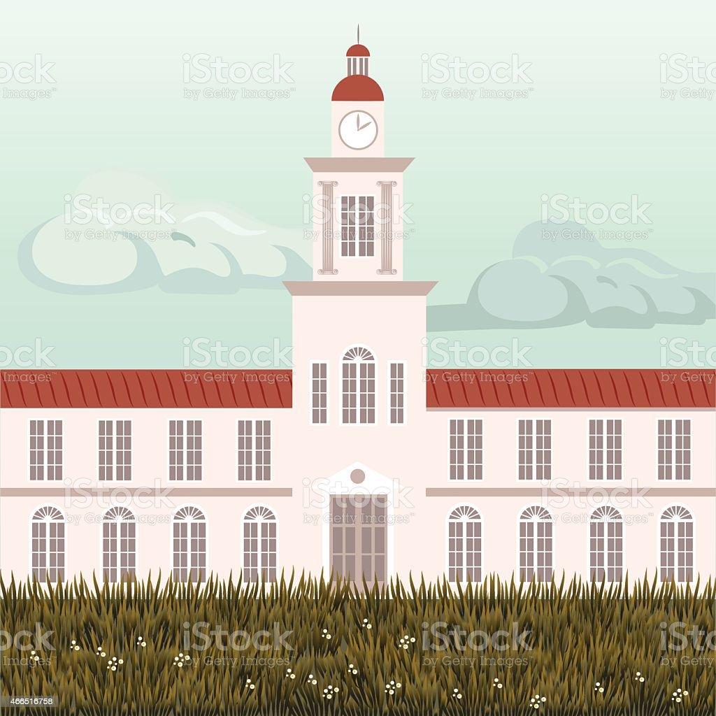 Old university building vector art illustration