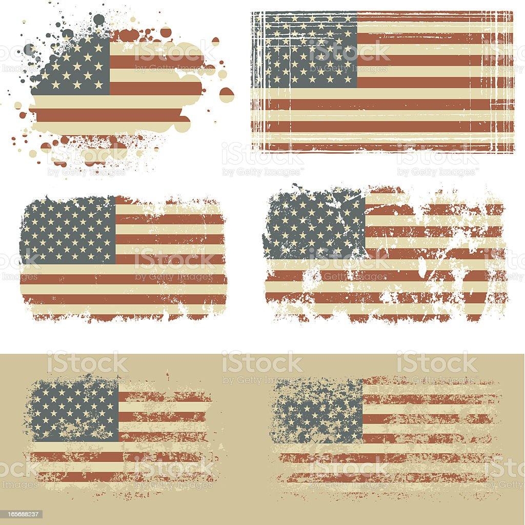 Old USA flag vector art illustration