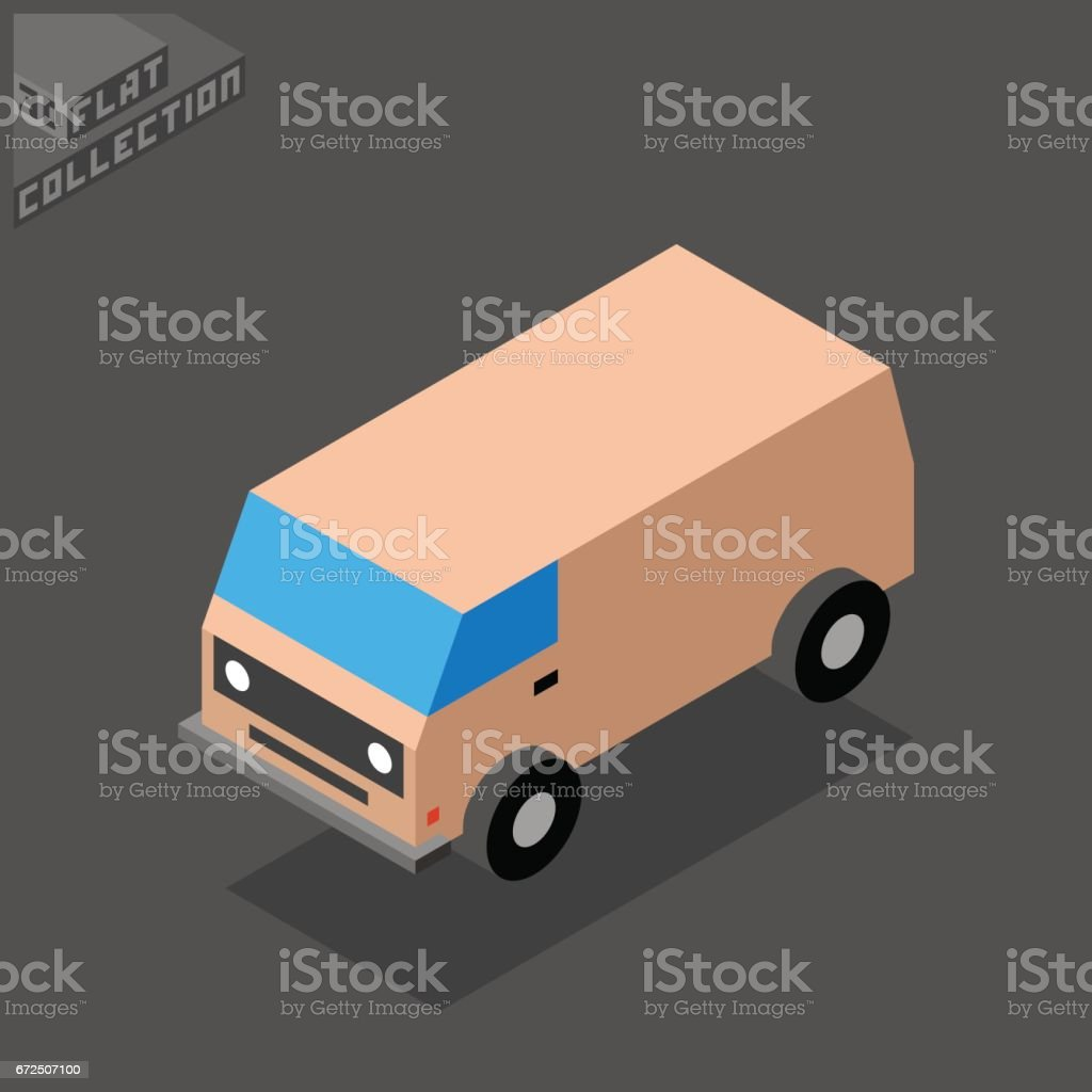 Old Van Icon. 3D Isometric Low Poly Flat Design. vector art illustration