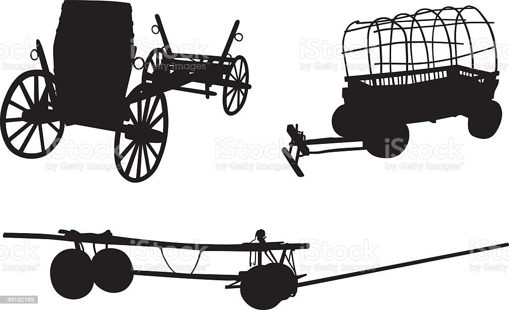 Old vector carriages vector art illustration