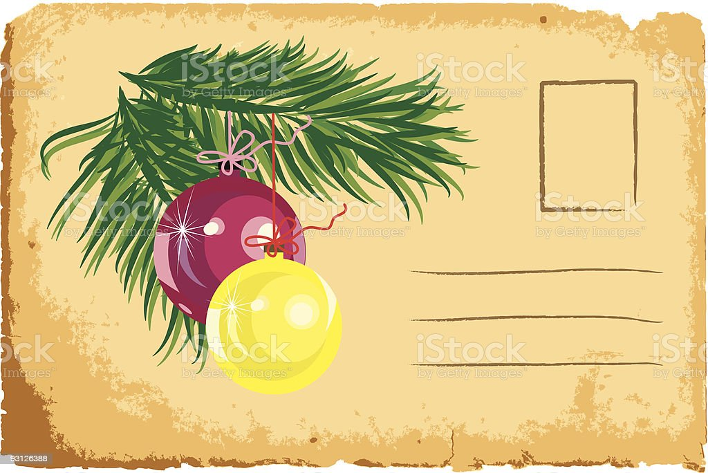 Old vintage Christmas greeting card royalty-free stock vector art